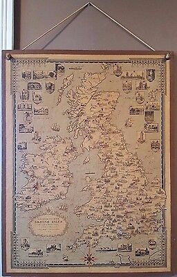 Antique Pictoral Map Of British Isles By Ernest Dudley Chase