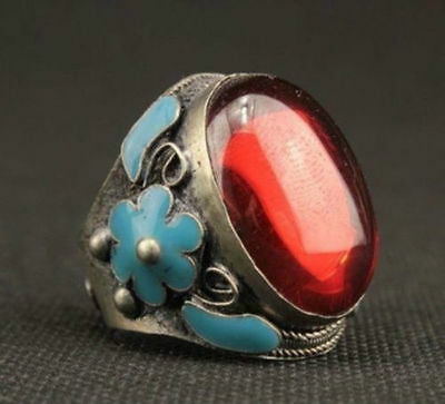 Old China Miao Silver Carved Flower Inlay Red Zircon Love Ring