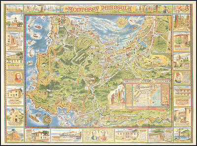Antique Monterey Peninsula Map Framed Picture