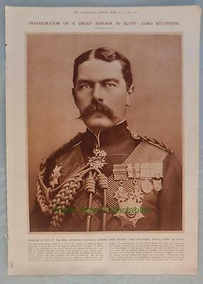 """Antique Print From """"Illustrated London News"""" Lord Kitchener Egypt"""