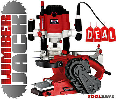 "Lumberjack 1/4"" Variable Speed Plunge Router & 3"" 76mm 1010w Belt Sander 240v"