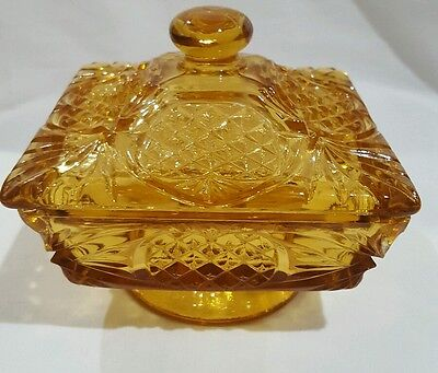 Vintage Amber Color Pressed Glass Pineapple Design Candy Dish With Lid
