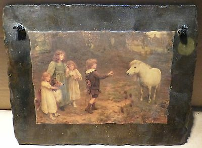 Vintage Wall Hanging Slate Decoupage - Depicting Children Feeding A Pony (Bx6)