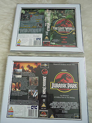 Jurassic park 1992 & Lost world Double Cover Vhs sleeves Framed