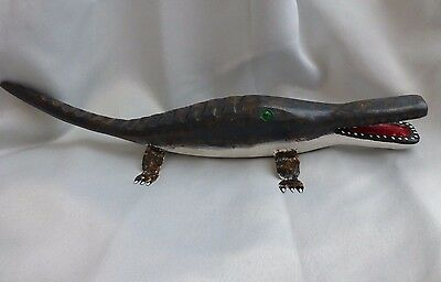 "Jim Lewis Carved 18"" 'alligater' Rare Outsider Folk Art"