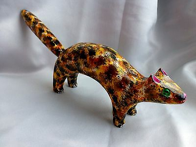 "Jim Lewis  Carved 16.5""  'calico Cat'  Rare Outsider Folk Art"