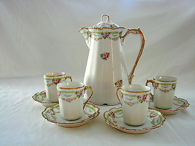 Vintage Limoges Chocolate Set Pink Roses Blue Flowers Pot with 4 Cups and Saucer