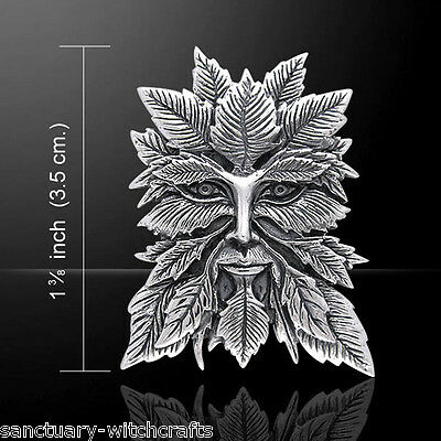 Sterling Silver Green Man Pendant by Jessica Galbreth. Pagan/Wiccan/Druid.