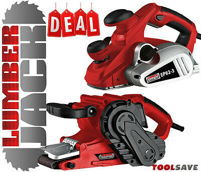 "Lumberjack 850w 3mm 82mm Electric Wood Planer & 3"" 76mm Belt Sander 240v"