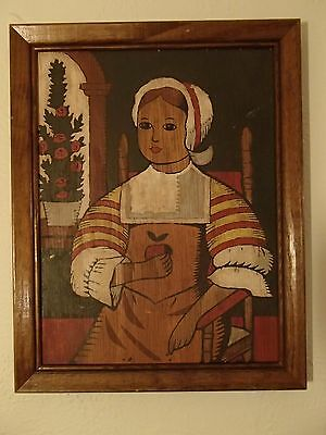 "vintage antique primitive folk art painting woman 11"" x 14.5"""