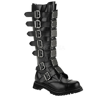 Demonia Reaper 30 Ladies Goth Punk Unisex Leather Boots Knee Combat Buckles
