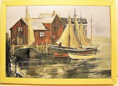 Boats in Rockport harbour acrylic on pine, Hand painted by Bob MacDougall