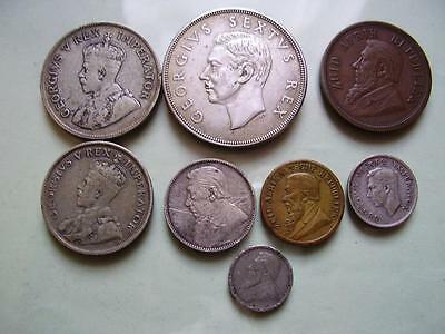 19th & 20th C South Africa coins, 1926 2/6, 1932 2/-, 1898 1d, 1952 Crown (8)