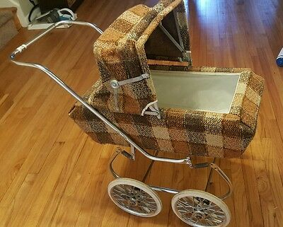 vintage antique baby carriage stroller pram tweed plaid rare obo