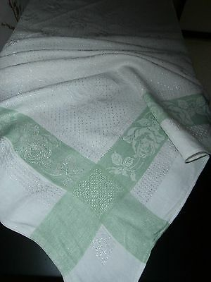 "WHITE IRISH RAYON DAMASK ~GREEN STRIPED EDGES ROSE DESIGN TABLECLOTH~48"" square"