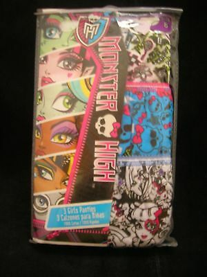 Monster High 3 pairs of panties  size 8