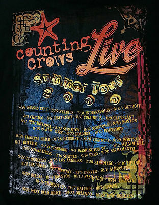 COUNTING CROWS Live Summer Tour 2000 Concert T Shirt (L Black) Dates on Back!