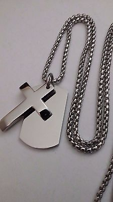 Men's Personalised Engraved Silver Dog Tag Cross Pendant Box Chain Necklace Gift