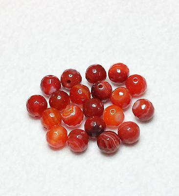 20 NATURAL MADAGASCAR AGATE FACETED ROUND BEADS 8mm ORANGE (BBA141)