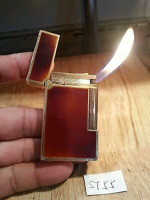 St dupont pipe lighter 55 ~ Ligne 2 large brown plaque gold plated , serviced