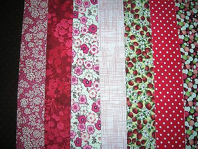 "8 Jelly Roll Strips Red & Pink 44"" X 2.5""  100% Cotton Patchwork/quilt Aucz"