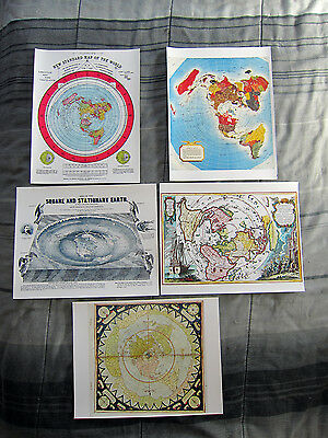 4 Flat Earth Maps Gleasons New Standard Map Square and Stationary Reproductions