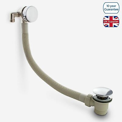 Bath Modern Chrome Filler & Sprung Waste & Overflow And Easy Clean