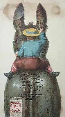 c1900 BOY & DONKEY Standard JAVA COFFEE Victorian Advertising TRADE CARD