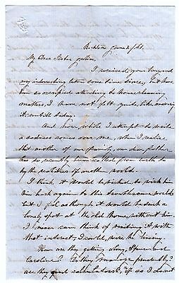 RARE Manuscript Letter Woman Desribes BREAST CANCER & Civil War 1861 Rockton IL