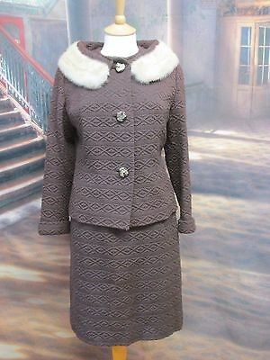 vintage 1940/50'S SIZE 10 12 BROWN WOOL WITH WHITE MINK COLLAR SKIRT SUIT T34