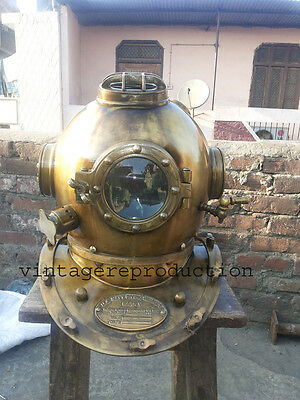 "Antique Scuba 18"" Diving Divers Helmet U.S Navy Mark V Deep Sea Marine Divers"