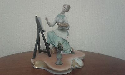 Capodimonte Tyche Tosca Signed Figurine Lady Painting Flowers