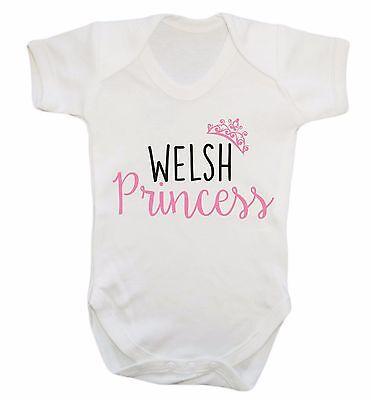 Welsh princess baby vest Welsh Wales dragon fairy tale sassy crown gift  3127
