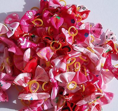 Assorted  females shades pink and red Pet Cat Dog Hair Bows Rubber Band Grooming