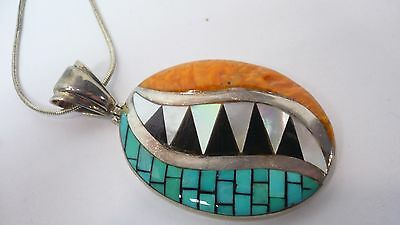 Unique Zuni Turquoise, Onyx, Mother of Pearl and Spiny Oyster Pendant!!