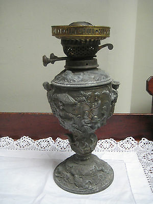 Unusual Old Metal Oil Lamp With Soldier & Native Bas Relief Design