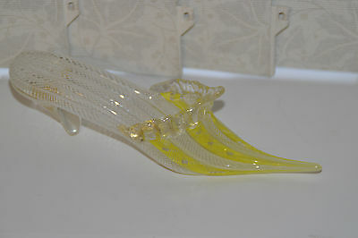 Vintage Murano Glass Latticino Twists Shoe