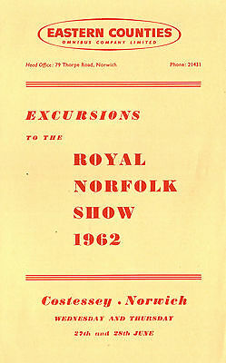 Eastern Counties 1962 Leaflet Excursions To The Royal Norfolk Show Norwich