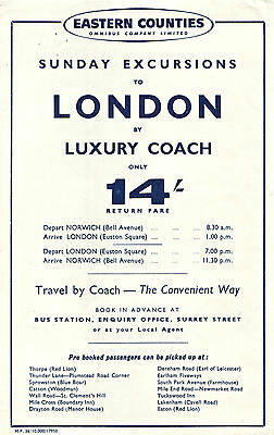 Eastern Counties 1958 Sunday Excursions Norwich To London Handbill