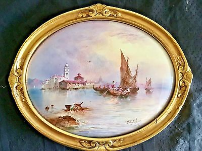 """PAINTING on PORCELAIN J.H.Plant MURRANO ITALY Boats Harbor 8""""x 9"""" Oval 1890-1900"""