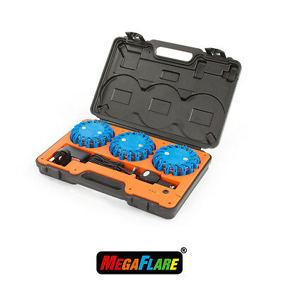 MegaFlare 3-Pack Emergency Recovery Flashing Warning Flare Lights Beacon Blue