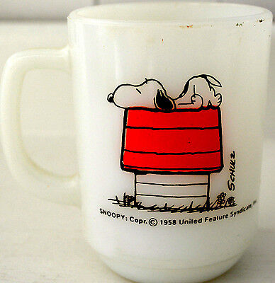 VTG SNOOPY MUG Fire King ALLERGIC TO MORNING United Feature Synd. 1958 PEANUTS
