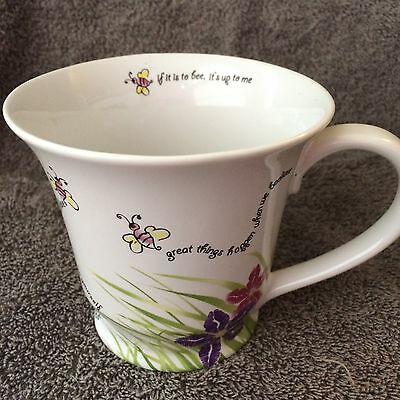 Mary Kay Coffee Mug Cup BEElieve Quotes Bumble Bee With Lip Kisses Flowers