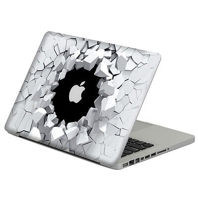 3D Wall Breaking Top Cover  Sticker Laptop MAC Decal for  Macbook Pro Air Retina