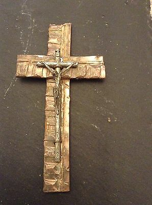 trench art style cross crucifix on copper drive bands