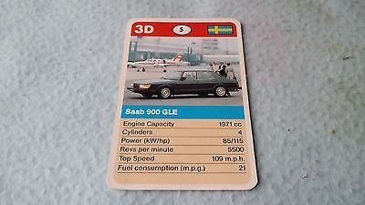 Saab 900GLE Original Top Trump Card Free Postage Collectible Rare