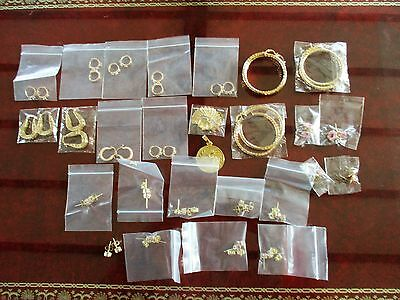 JOB LOT OF 25 PAIRS OF GENUINE 18ct GOLD FILLED EARRINGS & 2 PENDANTS ALL NEW