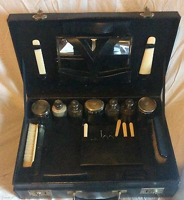 Fine Antique French Leather Travelling Vanity Case Silver Topped Bottles