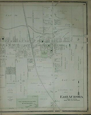 Antique Original 1880 Two Page Map of East Aurora New York