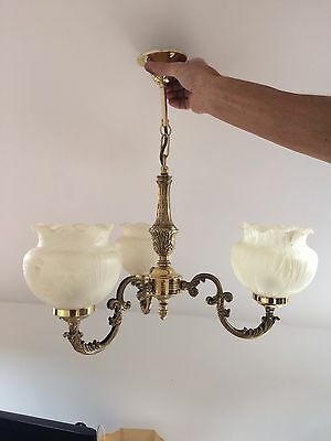 Polished brass ceiling light and 2 matching wall lights